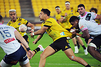 Billy Proctor gets a pass away during the Super Rugby Tran-Tasman match between the Hurricanes and Rebels at Sky Stadium in Wellington, New Zealand on Friday, 21 May 2020. Photo: Dave Lintott / lintottphoto.co.nz