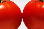 Two Tomatos glow on white surface.
