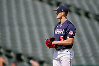 Pitcher Brock Selvidge (5) during the Baseball Factory All-Star Classic at Dr. Pepper Ballpark on October 4, 2020 in Frisco, Texas.  Pitcher Brock Selvidge (5), a resident of Chandler, Arizona, attends Hamilton High School.  (Ken Murphy/Four Seam Images)