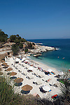 Greece, Corfu, Kassiopi: rocky cove on islands North West coast