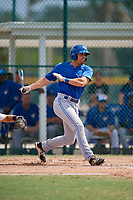 Toronto Blue Jays Nash Knight (31) follows through on a swing during an Instructional League game against the Pittsburgh Pirates on October 13, 2017 at Pirate City in Bradenton, Florida.  (Mike Janes/Four Seam Images)