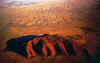 Aerial View of AyersRock and surrounding Sand dunes - Images from the Book Journey Through Colour and Time