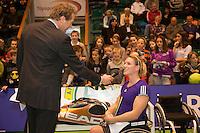 18-12-10, Tennis, Rotterdam, Reaal Tennis Masters 2010, Speaker Robert Reimering stelt vragen aan Esther Vergeer