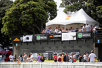 Fans watch the Dream11 Super Smash T20 men's cricket final between Wellington Firebirds and Canterbury Kings at the Basin Reserve in Wellington, New Zealand on Saturday, 13 February 2021. Photo: Dave Lintott / lintottphoto.co.nz