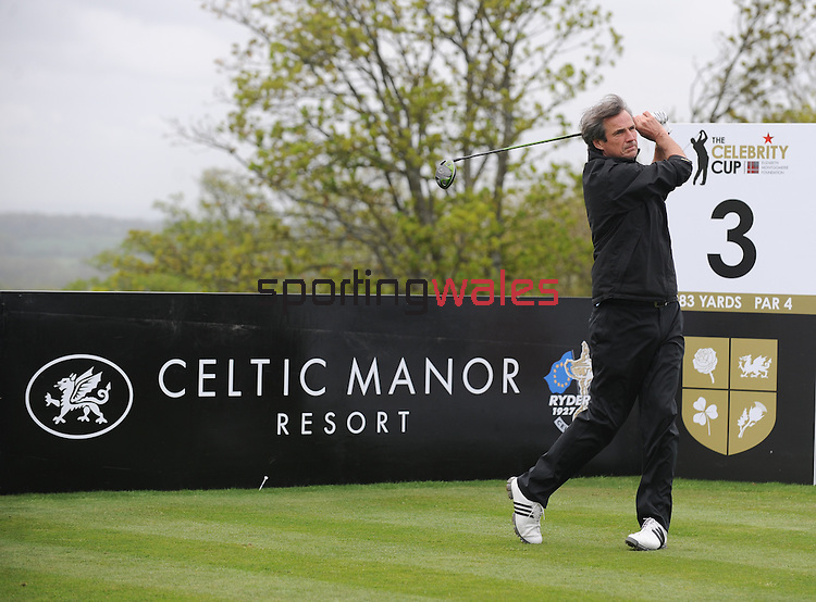 Scotland's Alan Hansen hits his tee shot off the 3rd..Celebrity Cup at Golf Live  - Celtic Manor Resort - Friday 10th  May  2013 - Newport ..© www.sportingwales.com- PLEASE CREDIT IAN COOK