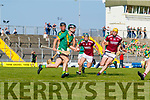 James Godley, Kilmoyley in action against Sean Leahy, Causeway during the Kerry County Senior Hurling Championship Final match between Kilmoyley and Causeway at Austin Stack Park in Tralee