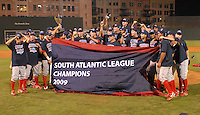 Sept. 18, 2009: Lakewood BlueClaws players display the league championship banner after winning Game 4 of the South Atlantic League Championship Series against the Greenville Drive 5-1 at Fluor Field at the West End in Greenville, S.C. Lakewood won the series 3 games to 1. Photo by: Tom Priddy/Four Seam Images