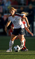 Lori Chalupny, Kelly Parker. The US Women's National Team defeated the Canadian Women's National Team, 4-0, at BMO Field in Toronto during an international friendly soccer match on May 25, 2009.