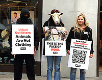 "PETA launched an international campaign today against Urban Outfitters Inc by protesting outside it's flagship London store. They are demanding that the group drop alpaca, wool, leather, cashmere, mohair, down and silk, each a product of extreme violence, cruelty, and fear. Protesters outside the store as ""animals""  including a sheep, a cow, a goat, and an alpaca played audio of animals being abused for their skins and held graphic signs showing the terrified faces of exploited animals. Oxford Street, London on September 30th 2020<br /> <br /> Photo by Keith Mayhew"