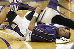 Venoy Overton, University of Washington guard, warms up prior to the Huskies Pac-10 conference showdown with arch-rival Washington State at Bank of America Arena in Seattle, Washington, on March 7, 2009.  The Huskies defeated the Cougars in a tight contest, 67-60