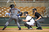 Salt River Rafters Jamie Westbrook (2), of the Arizona Diamondbacks organization, at bat in front of Glendale Desert Dogs catcher Zack Collins (18), of the Chicago White Sox organization, and umpire Travis Eggert on October 19, 2016 at Camelback Ranch in Glendale, Arizona.  Salt River defeated Glendale 4-2.  (Mike Janes/Four Seam Images)