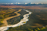 Aerial of delta creek flowing out of the Alaska Range mountains, Interior, Alaska.