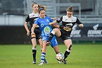 Jolet Lommen (9 of Gent) with Tiffanie Vanderdonckt (5 of Aalst) and Lieselot De Kegel (15 of Aalst)  pictured during a female soccer game between Eendracht Aalst and AA Gent Ladies on the 10 th matchday of the 2020 - 2021 season of Belgian Scooore Womens Super League , Saturday 19 th of December 2020  in Aalst , Belgium . PHOTO SPORTPIX.BE | SPP | DIRK VUYLSTEKE