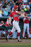 JJ Matijevic #24 of the Arizona Wildcats bats during a College World Series Finals game between the Coastal Carolina Chanticleers and Arizona Wildcats at TD Ameritrade Park on June 28, 2016 in Omaha, Nebraska. (Brace Hemmelgarn/Four Seam Images)
