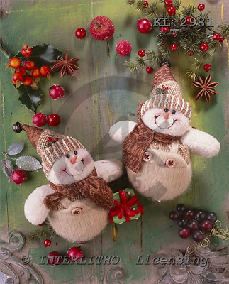 Interlitho, CHRISTMAS ANIMALS, photos+++++,2 snowmen,red caps,KL2981,#xa#
