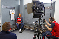 Andre Ayew speaks to the club's media team during the Swansea Unveiling of New Signings Andre Ayew and Andy King at The Fairwood Training Ground, Swansea, Wales, UK. Thursday 01 February 2018