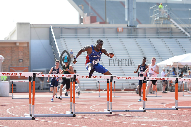 Michael Stigler of Kansas competes in 400 meter hurdles prelims during West Preliminary Track and Field Championships, Friday, May 29, 2015 in Austin, Tex. (Mo Khursheed/TFV Media via AP Images)