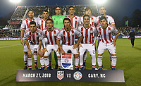 Cary, N.C. - Tuesday March 27, 2018: Paraguay starting eleven during an International friendly game between the men's national teams of the United States (USA) and Paraguay (PAR) at Sahlen's Stadium at WakeMed Soccer Park.