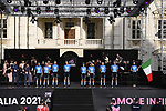 Eolo-Kometa Cycling Team on stage at team presentation of the 2021 Giro d'Italia inside the Cortile d'Onore of the Castello del Valentino, on the occasion of the 160th anniversary of the Unification of Italy, Turin, Italy. 6th May 2021.  <br /> Picture: LaPresse/Fabio Ferrari | Cyclefile<br /> <br /> All photos usage must carry mandatory copyright credit (© Cyclefile | LaPresse/Fabio Ferrari)