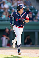 Center fielder Tyler Esplin (25) of the Greenville Drive in a game against the Aberdeen IronBirds on Sunday, July 11, 2021, at Fluor Field at the West End in Greenville, South Carolina. (Tom Priddy/Four Seam Images)