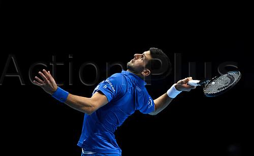 20th November 2020; O2, London;  Novak Djokovic Serbia smashes to Alexander Zverev during the 2020 ATP Finals