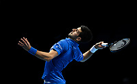 20th November 2020; O2, London;  Novak Djokovic Serbia smashes to Alexander Zverev during the 2020 ATP Finals