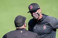 South Carolina Gamecocks coach Mark Kingston argues a call against the Vanderbilt Commodores at Hawkins Field in Nashville, Tennessee, on March 21, 2021. The Gamecocks won 6-5. (Danny Parker/Four Seam Images)