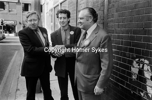 Roy Hattersley MP, Peter Tatchell and Bob Mellish MP, electioneering Bermondsey by-election south London 1983. UK...