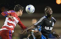 Kei Kamara, right, wins a head ball. .The San Jose Earthquakes tied FC Dallas 0-0, at Buck Shaw Stadium, in Santa Clara, California, Saturday, May 3, 2008. .