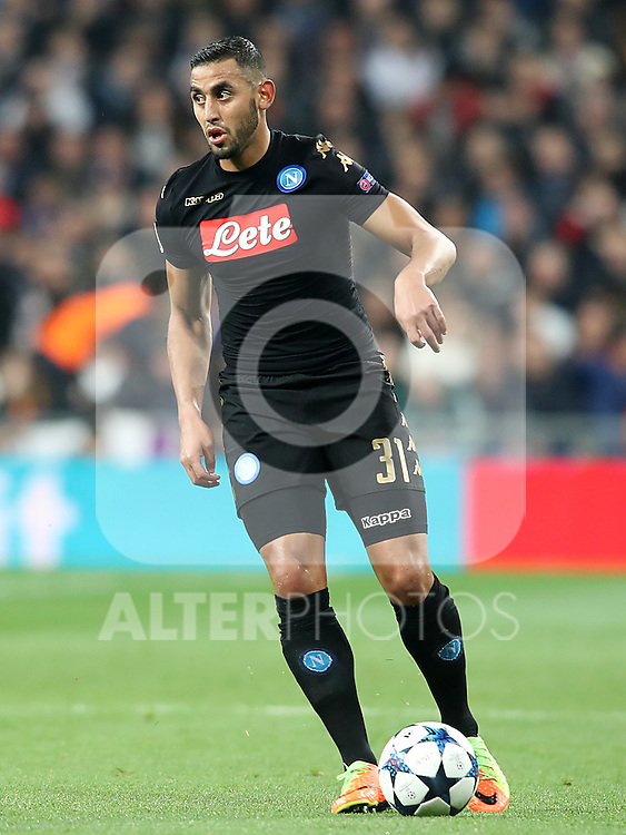 SSC Napoli's Faouzi Ghoulam during Champions League 2016/2017 Round of 16 1st leg match. February 15,2017. (ALTERPHOTOS/Acero)