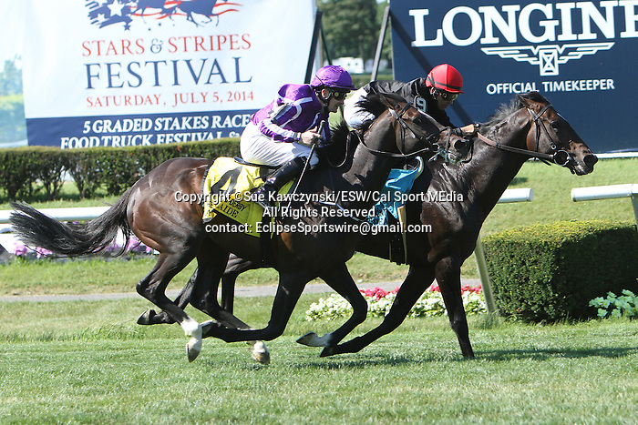 """July 05, 2014: Mr. Speaker with Jose Lezcano win the 65th running of the Grade I Belmont Derby Invitational Stakes for 3-year olds, going 1 1/4 mile on the inner turf at Belmont Park. Trainer:Claude """"Shug"""" McGaughey . Owner: Phipps Stable . Sue Kawczynski/ESW/CSM"""