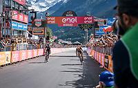 Vincenzo Nibali (ITA/Bahrain-Merida) beats Mikel Landa (ESP/SKY) to the finish line in the queen stage over the famous Passo dello Stelvio (alt: 2758m)<br /> <br /> Stage 16: Rovett › Bormio (222km)<br /> 100th Giro d'Italia 2017