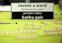 Wednesday 28 May 2014, Hay on Wye, UK<br /> Pictured: Invent a Word competition for the Dylan Thomas Centenary.<br /> Re: The Hay Festival, Hay on Wye, Powys, Wales UK.