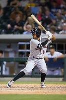 Cole Figueroa (10) of the Indianapolis Indians at bat against the Charlotte Knights at BB&T BallPark on June 17, 2016 in Charlotte, North Carolina.  The Knights defeated the Indians 4-0.  (Brian Westerholt/Four Seam Images)
