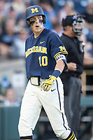 Michigan Wolverines third baseman Blake Nelson (10) walks back to the dugout against the Vanderbilt Commodores during Game 3 of the NCAA College World Series Finals on June 26, 2019 at TD Ameritrade Park in Omaha, Nebraska. Vanderbilt defeated Michigan 8-2 to win the National Championship. (Andrew Woolley/Four Seam Images)