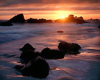 Sunset over the Pacific Ocean; Harris Beach State Park, OR