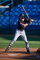 Missoula Osprey Kevin Watson Jr. (19) at bat during a Pioneer League game against the Great Falls Voyagers at Centene Stadium at Legion Park on August 19, 2019 in Great Falls, Montana. Missoula defeated Great Falls 4-1 in the first game of a doubleheader. Games were moved from Missoula after Ogren Park at Allegiance Field, the Osprey's home field, was ruled unplayable. (Zachary Lucy/Four Seam Images)