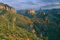 Weavers Needle<br />   from Labarge Creek Canyon<br /> Superstition Wilderness<br /> Sonoran Desert,  Arizona