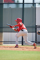 Philadelphia Phillies Yerwin Trejo (27) squares around to bunt during a Florida Instructional League game against the Atlanta Braves on October 5, 2018 at the Carpenter Complex in Clearwater, Florida.  (Mike Janes/Four Seam Images)