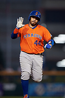 Syracuse Mets Rene Rivera (44) rounds the bases after hitting a home run during an International League game against the Buffalo Bisons on June 29, 2019 at Sahlen Field in Buffalo, New York.  Buffalo defeated Syracuse 9-3.  (Mike Janes/Four Seam Images)