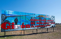 Billboard in Giron Cuba about Bay of Pigs in Spanish saying First Defeat of Imperialist USA in Latin America