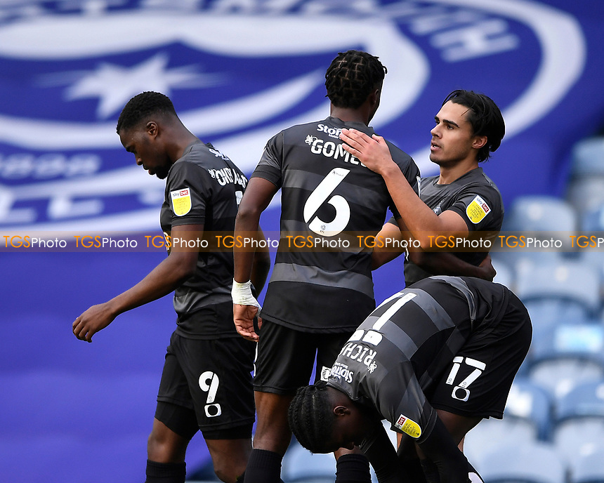 Reece James of Doncaster Rovers right celebrates scoring the first goal during Portsmouth vs Doncaster Rovers, Sky Bet EFL League 1 Football at Fratton Park on 17th October 2020