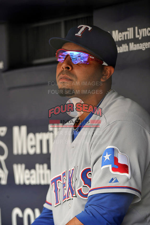 Texas Rangers outfielder Nelson Cruz #17 during a game against the New York Yankees at Yankee Stadium on June 16, 2011 in Bronx, NY.  Yankees defeated Rangers 3-2.  Tomasso DeRosa/Four Seam Images
