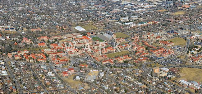 University of Colorado Boulder panoramic aerial. Feb 2013