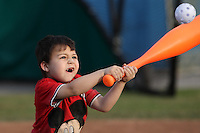 Batavia Muckdogs young fans participate in a wiffle ball home run tournament during the teams pre-season pep rally at Dwyer Stadium on June 15, 2011 in Batavia, New York.  Photo By Mike Janes/Four Seam Images