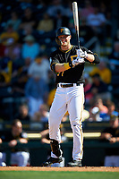 Pittsburgh Pirates Austin Meadows (77) at bat during a Spring Training game against the Tampa Bay Rays on March 10, 2017 at LECOM Park in Bradenton, Florida.  Pittsburgh defeated New York 4-1.  (Mike Janes/Four Seam Images)