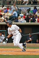 Charleston RiverDogs infielder Jose Javier (1) during a game against the Augusta GreenJackets at Joseph P.Riley Jr. Ballpark on April 15, 2015 in Charleston, South Carolina. Charleston defeated Augusta 8-0. (Robert Gurganus/Four Seam Images)