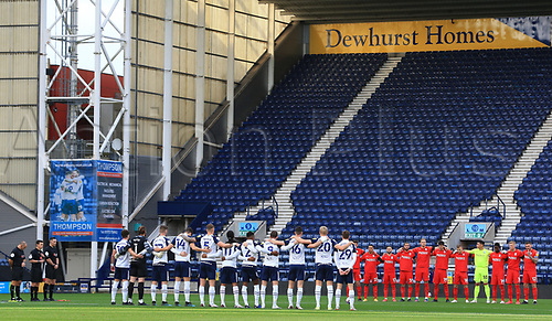 31st October 2020; Deepdale Stadium, Preston, Lancashire, England; English Football League Championship Football, Preston North End versus Birmingham City; players and match officials observe a minute's silence in memory of former Preston player Nobby Stiles who passed away earlier this  week