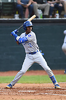 Burlington Royals Maikel Garcia (2) bats during a game with the Bristol Pirates at Boyce Cox Field on June 19, 2019 in Bristol, Virginia. The Royals defeated the Pirates 1-0. (Tracy Proffitt/Four Seam Images)