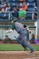 Charlie White #5 of the Boise Hawks bats against the Everett AquaSox at Everett Memorial Stadium on July 25, 2014 in Everett, Washington. Everett defeated Boise, 2-1. (Larry Goren/Four Seam Images)